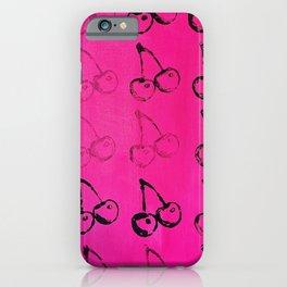 20 Cherries Print Pink iPhone Case