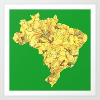 brazil Art Prints featuring Brazil by Ursula Rodgers
