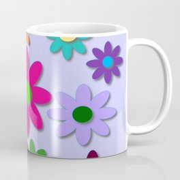 Flower Power - Light Purple Background - Fun Flowers - 60' Hippie Syle Coffee Mug
