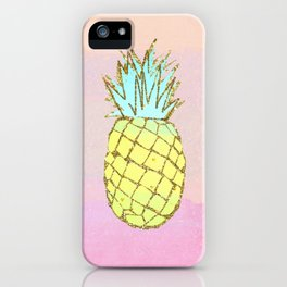 Pineapple Watercolor Tropical Beach Pink Peach iPhone Case