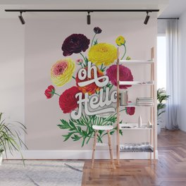 oh Hello vintage spring flowers Wall Mural