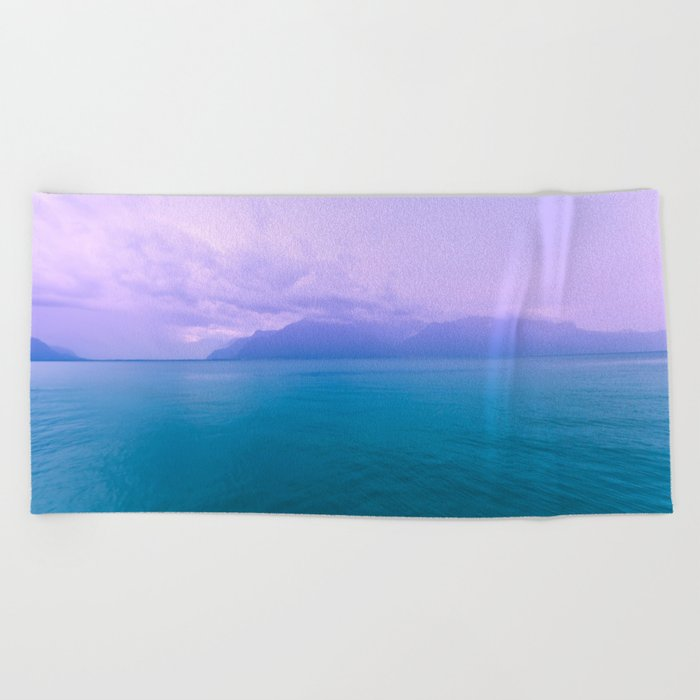 Wild Nature with Lake and Mountains Beach Towel