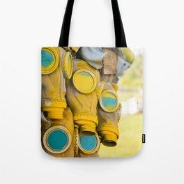 Yellow gas mask Tote Bag