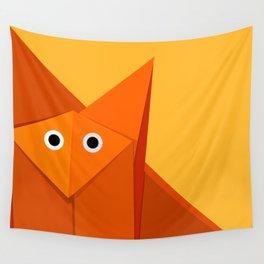 Geometric Cute Origami Fox Portrait Wall Tapestry