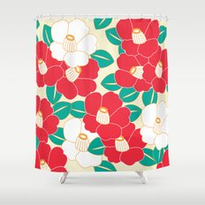 Japanese Style Camellia - Red and White Shower Curtain