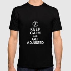 Keep Calm and Get Adjusted (chiropractor) LARGE Mens Fitted Tee Black
