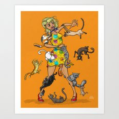 Girl in trouble with Yarn Dress, Blonde Version Art Print