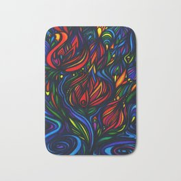 Flowers in Flame Bath Mat