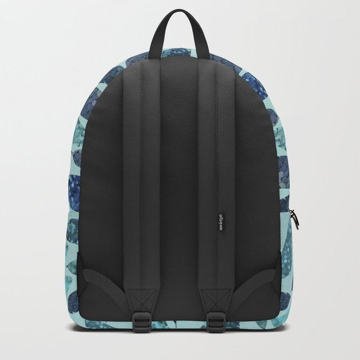 Blue Aqua Glamorous Mermaid Feathers Backpack