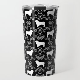 Australian Shepherd black and white dog breed pet portrait dog silhouette pattern minimal Travel Mug