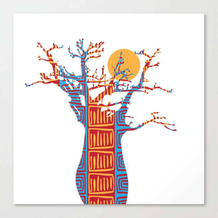 African Baobab tree of life at Sunset Canvas Print