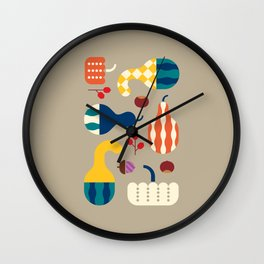 Autumn Gourds Gold Wall Clock