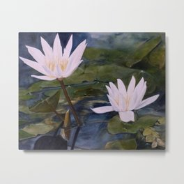 Watercolor Flower Water Lily Landscape Nature Metal Print