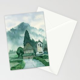 Japanese Village , After Rain ,  Art Watercolor Painting print by Suisai Genki  Stationery Cards
