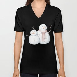 Snowmen small and big snowman with scarf Unisex V-Neck
