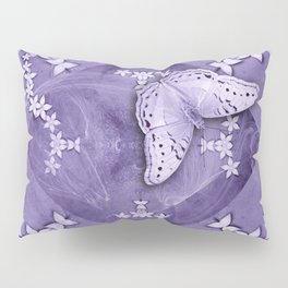 Flowers and butterfly with swirling fractal Pillow Sham