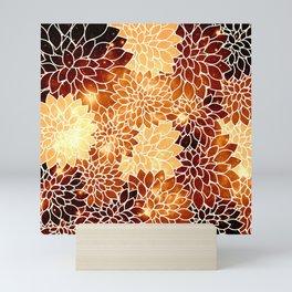 Space Dahlias Golden Bronze Mini Art Print