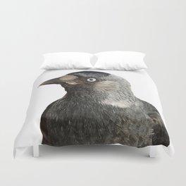 Jackdaw (Corvus monedula) Bird Portrait Vector Duvet Cover