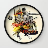 germany Wall Clocks featuring Germany by Rose's Creation