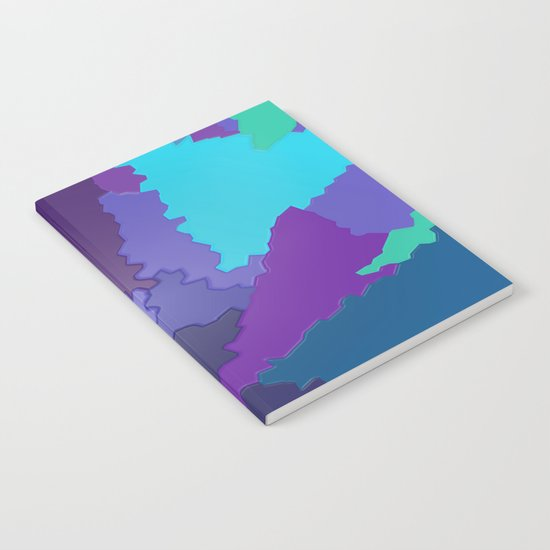 Blues and Purples Puzzle Patchwork Notebook