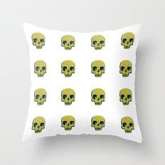 Skull In Gold Throw Pillow