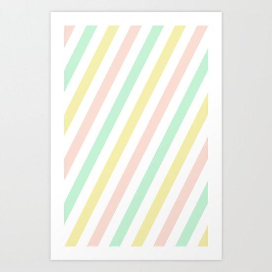 Pastel stripes Art Print