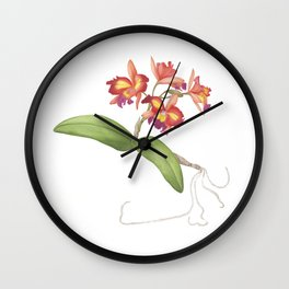 Red Orange Orchid Wall Clock