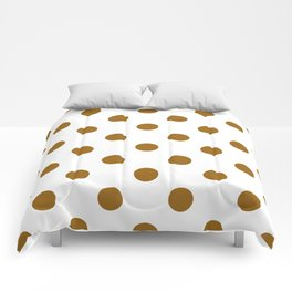 Polka Dots - Golden Brown on White Comforters
