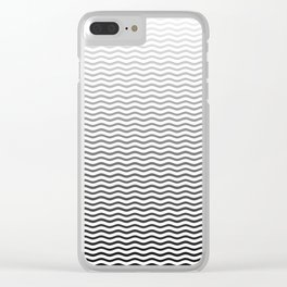 Black And White Fade Ombre Shaded Wave Clear iPhone Case