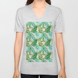 Hand painted teal green watercolor tropical leaves Unisex V-Neck