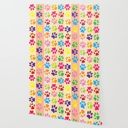 Dog Paws, Paw-prints, Stripes - Red Blue Green Wallpaper
