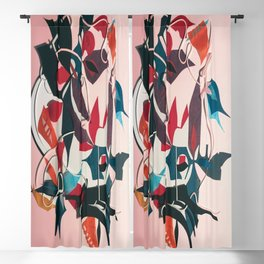 The Mystery- Dark Floral Mixed Media Decoupage  Blackout Curtain