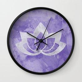 Lotus Flower on Purple Wall Clock