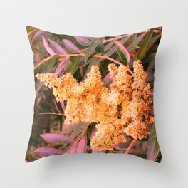 Pale Yellow and Green Sideways Sumac Throw Pillow