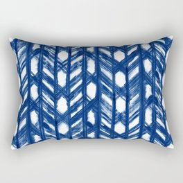Indigo Geometric Shibori Pattern - Blue Chevrons on White Rectangular Pillow
