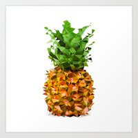 Art Print featuring Perfect poly pineapple GY by GENYOLO