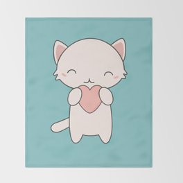 Kawaii Cute Cat With Hearts Throw Blanket