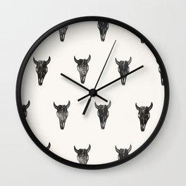 Stamped Skull Wall Clock