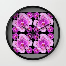 Black-Grey Color Abstracted Modern Purple Moth Orchids Wall Clock