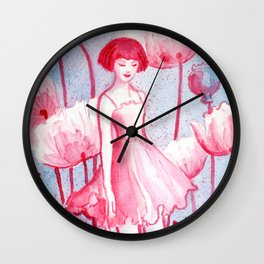 Pink Poppy Wall Clock