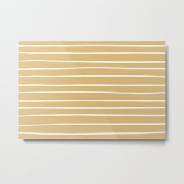 Dover White 33-6 Hand Drawn Horizontal Lines on Maple Sugar Beige 9-23 Metal Print