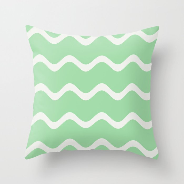 Linen White Soft Rippled Horizontal Line Pattern on Pastel Green 2020 Color of the Year Neo Mint Throw Pillow