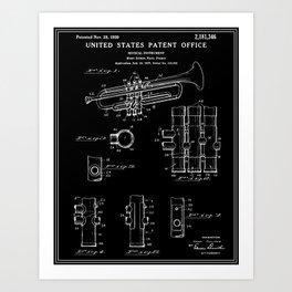 Trumpet Patent - Black Art Print