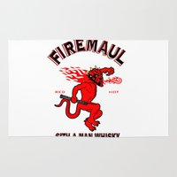 whisky Area & Throw Rugs featuring Firemaul Whisky by Ant Atomic