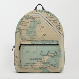 Vintage Great Lakes Lighthouse Map (1898) Backpack