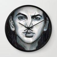 eddie vedder Wall Clocks featuring Vedder by Emily Morris