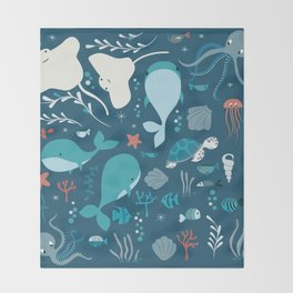Sea creatures 004 Throw Blanket
