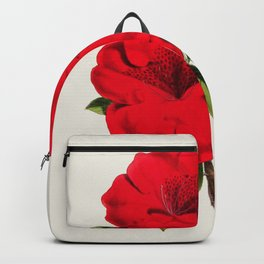Vintage Botanical Illustration Beautiful Red Azalea Flower Floral Drawing Backpack