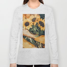 Holding Sunflowers #society6 #illustration #nature #painting Long Sleeve T-shirt