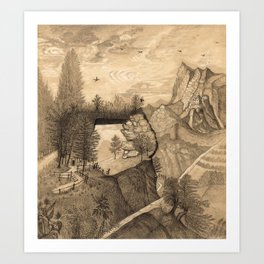 Hikers climbing up to a Mountain Chalet Art Print